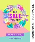 tropical hawaiian sale poster... | Shutterstock .eps vector #1010492137