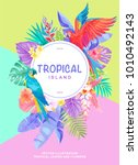 tropical hawaiian poster with... | Shutterstock .eps vector #1010492143