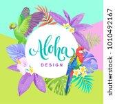 tropical hawaiian flyer with... | Shutterstock .eps vector #1010492167