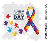 autism awareness day puzzles... | Shutterstock .eps vector #1010508427