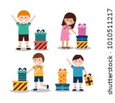 group of kids with nicely... | Shutterstock .eps vector #1010511217