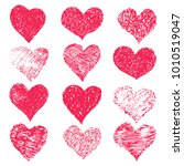hand drawn grunge hearts on a... | Shutterstock .eps vector #1010519047