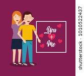 woman covering her boyfriends... | Shutterstock .eps vector #1010522437