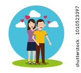 woman covering her boyfriends... | Shutterstock .eps vector #1010523397