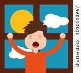 little boy in front morning day ... | Shutterstock .eps vector #1010523967