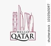 qatar city tower logo design... | Shutterstock .eps vector #1010565097