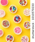 sprinkes pattern on colorful... | Shutterstock . vector #1010570233