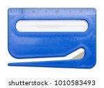 blue plastic letter opener with ... | Shutterstock . vector #1010583493