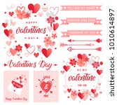 set of creative valentines day... | Shutterstock .eps vector #1010614897