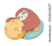 cute cartoon sloth hugs moon...   Shutterstock .eps vector #1010616637
