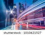 light trails in the downtown... | Shutterstock . vector #1010621527
