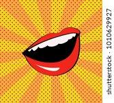 red woman lips. wow  pop art... | Shutterstock .eps vector #1010629927