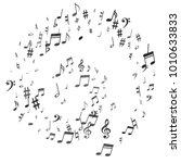 black flying musical notes...   Shutterstock .eps vector #1010633833