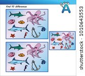 quiz find 10 differences marine ... | Shutterstock .eps vector #1010643553