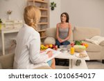 appontment at dietitian. doctor ... | Shutterstock . vector #1010654017