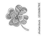 coloring book clover  on st.... | Shutterstock .eps vector #1010686783