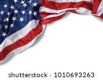 closeup ruffled american flag... | Shutterstock . vector #1010693263