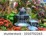 Antique fountain at garden....