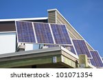 Solar panels on the roof of a building. - stock photo