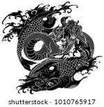 hand drawn and japanese style... | Shutterstock .eps vector #1010765917
