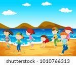 happy children playing on the... | Shutterstock .eps vector #1010766313