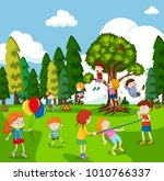 many children playing games in... | Shutterstock .eps vector #1010766337