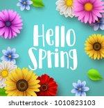 hello spring text vector banner ... | Shutterstock .eps vector #1010823103