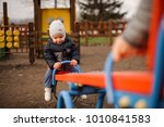 cute little boy dressed in a... | Shutterstock . vector #1010841583