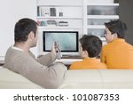 father with twin brothers... | Shutterstock . vector #101087353