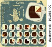 Vintage infographics set - types of coffee drinks - vector illustration - stock vector