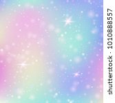 Magic background with rainbow mesh. Cute universe banner in princess colors. Fantasy gradient backdrop with hologram. Holographic magic background with fairy sparkles, stars and blurs.