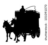 Carriage silhouette with a horse - stock vector