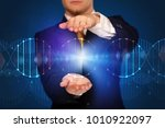 businessman with dna concept in ... | Shutterstock . vector #1010922097