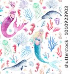 watercolor sea pattern with... | Shutterstock . vector #1010923903
