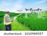 Small photo of Technician farmer use wifi computer control agriculture drone fly to sprayed fertilizer on the green tea fields, Smart farm 4.0 concept
