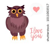 happy valentine cute owl flat... | Shutterstock .eps vector #1011003517