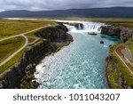 majestic godafoss waterfall ... | Shutterstock . vector #1011043207