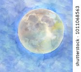watercolor full moon on the...   Shutterstock . vector #1011068563