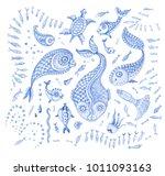 set of  indigo blue hand... | Shutterstock . vector #1011093163