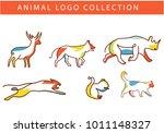 set 6 colorful animal logos... | Shutterstock .eps vector #1011148327