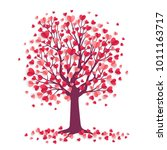 happy valentine's day tree with ... | Shutterstock .eps vector #1011163717