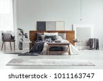 grey and white bedroom interior ... | Shutterstock . vector #1011163747
