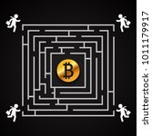 bitcoin square labyrinth  ...   Shutterstock .eps vector #1011179917