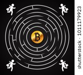 bitcoin circle labyrinth  ...   Shutterstock .eps vector #1011179923