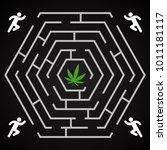 cannabis hexagonal labyrinth  ...   Shutterstock .eps vector #1011181117