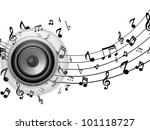 Vector - Speaker Glass Button with Music Notes - stock vector