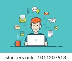 flat style linear young man... | Shutterstock .eps vector #1011207913