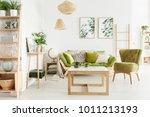 cozy living room interior with... | Shutterstock . vector #1011213193