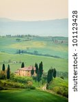 Scenic view of typical Tuscany landscape - stock photo