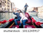 couple of lovers on vacation in ... | Shutterstock . vector #1011245917